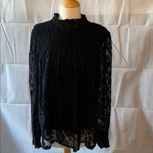 Cable and Gauge black lace shirt size large